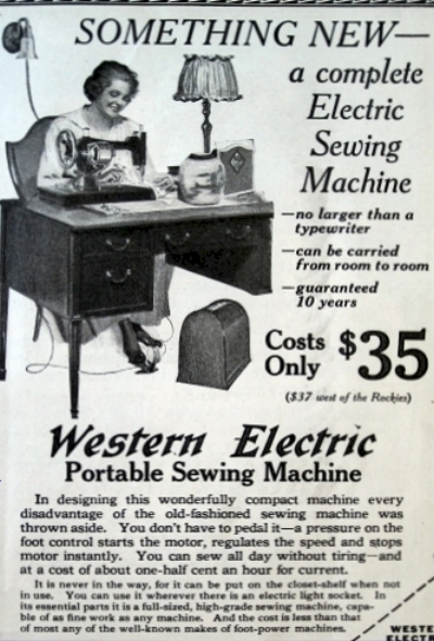"Western Electric Portable Sewing Machine Ad, March 1917. ""You don't have to pedal it."""