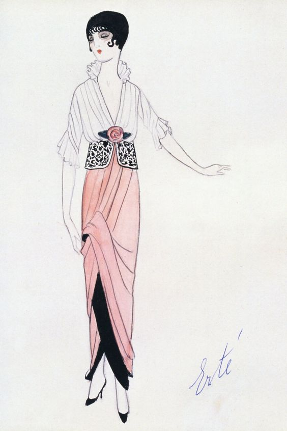 Erté, for Paul Poiret, 1913. This is one of the few drawings that Poiret allowed the Russian artist to have his own signature on.