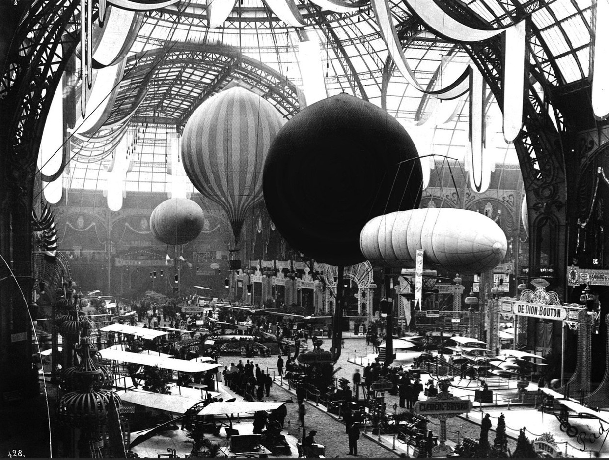 The Transportation building inside the Paris World fair of 1900. During the Belle Epoque, the world fairs were mostly used to present to public new cretions and discoveries for the first time. The Parisian world exposition of 1900 is considered a symbol of the Belle Epoque for the amount of new stuff presented for the first time to public.