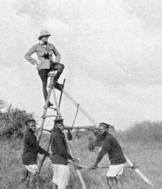 Winston Churchill on top of a makeshift observation tower in Africa, 1908