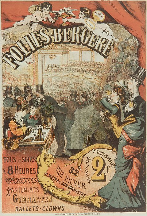 The Folies Bergère was a cabaret music hall, located in Paris, France. Established in 1869, the house was at the height of its fame and popularity from the 1890s' Belle Époque through the 1920s. The institution is still in business, and is still a strong symbol of French and Parisian life.