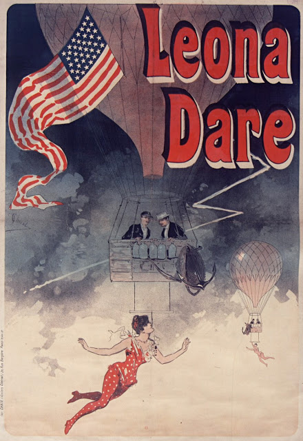 """Leona Dare poster by Jules Chéret, 1890 Leona Dare (1854– 1922) was an American trapeze artist and aerial acrobat, billed often as the """"Queen of the Antilles"""" or the """"Pride of Madrid"""". She was famous for her stunts on trapezes suspended from ascending balloons."""