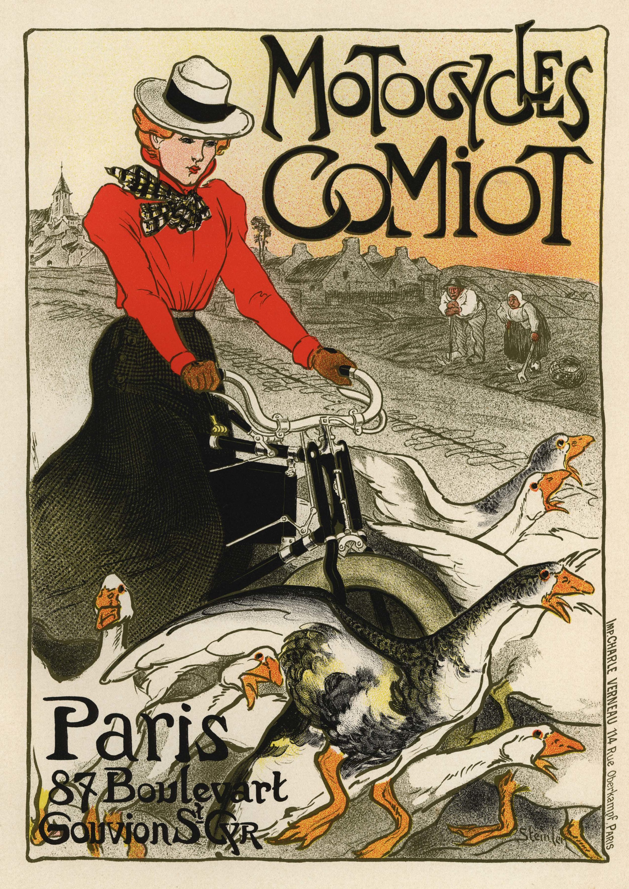 Motocycles Comiot  by Théophile Alexandre Steinlen, 1899