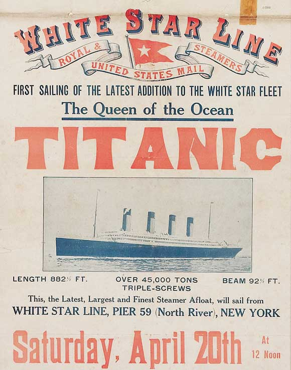 Above is a very rare poster advertising of Titanic's first sailing from New York on 20 April 1912. Though the transatlantic never made a return journey, it remains one of the symbols of the Belle Epoque. The scarcity of this poster is due to the fact that after Titanic sank on 15 April 1912, the White Star Line pulled down and destroyed as many of these posters as they could find.