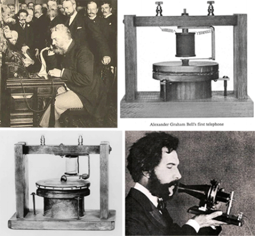 """Early telephones. The first call was made from Bell to an assistant sitting 15 feet away on March 10, 1876, when Bell said, """"Watson, come here, I want you."""""""