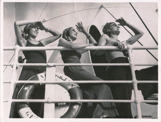 "Three passengers posing on the deck of the ""Augustus"" ship, 1932 ( Regione Liguria  - Historical Archive)"