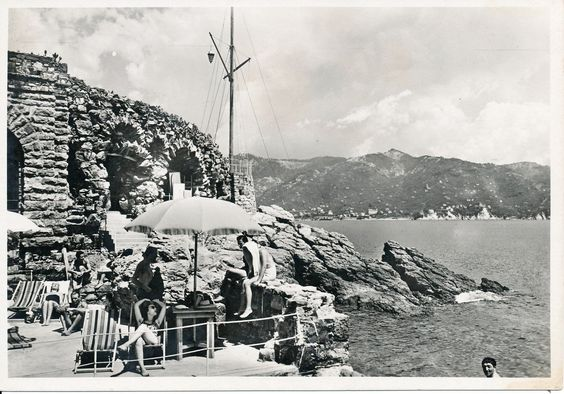 "The beach near the historic nightclub ""Covo del Nord Est"" in Santa Margherita Ligure, Ligurian Riviera, 1930s ( Regione Liguria  - Historical Archive)"
