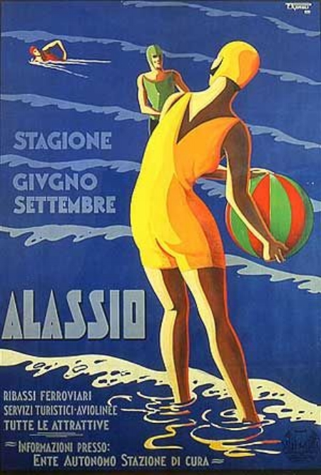 Alassio advertising poster, Ligurian Riviera, 1930s