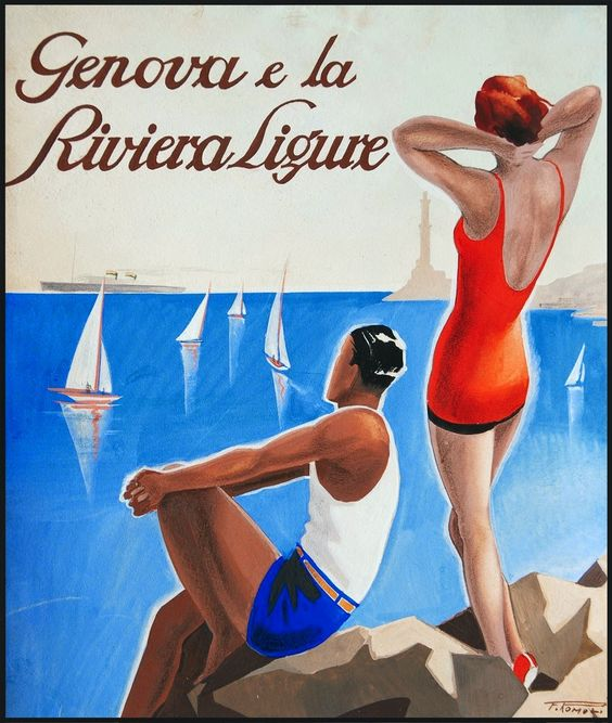 Genova advertising poster, Ligurian Riviera, 1920s