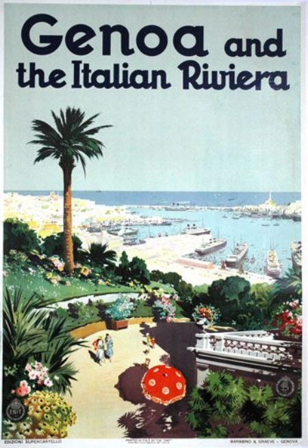 Genova advertising poster, Ligurian Riviera, 1930s