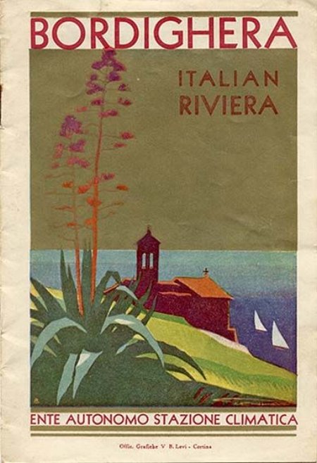 Bordighera advertising poster, Ligurian Riviera, 1935