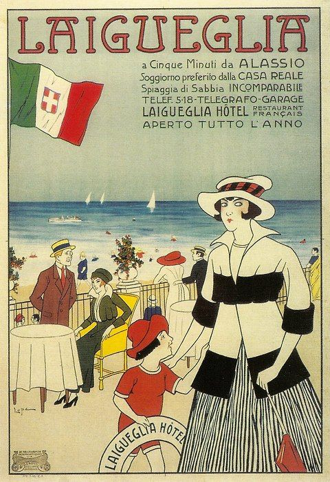 Laigueglia advertising poster, Ligurian Riviera, 1915 ca
