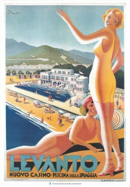 Levanto advertising poster, Ligurian Riviera, 1930s