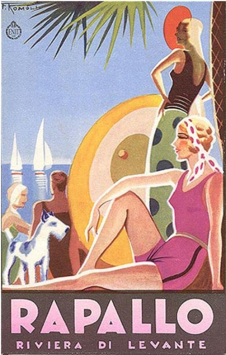 Rapallo advertising poster, Ligurian Riviera, 1930s
