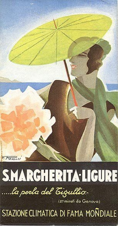 Santa Margherita Ligure advertising poster, Ligurian Riviera, 1930s
