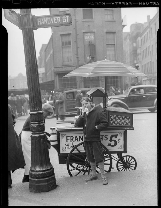 Hotdog stand in North End (Boston) by Jules Aarons, 1940s