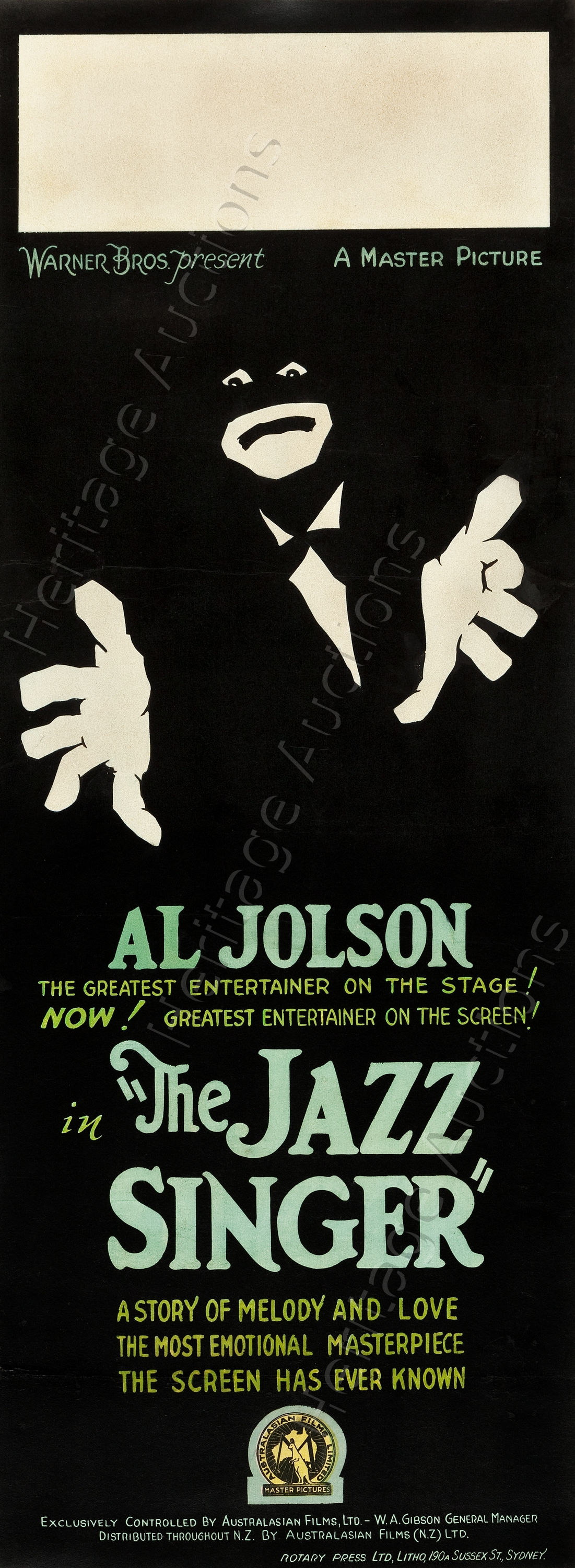 Poster of The Jazz Singer directed by Alan Crowland, 1927