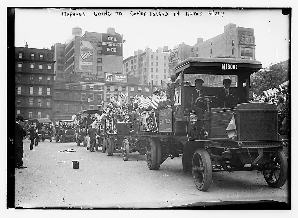 Orphans going to Coney Island in Autos, 1911 (The George Grantham Bain Collection - Library of Congress archive)