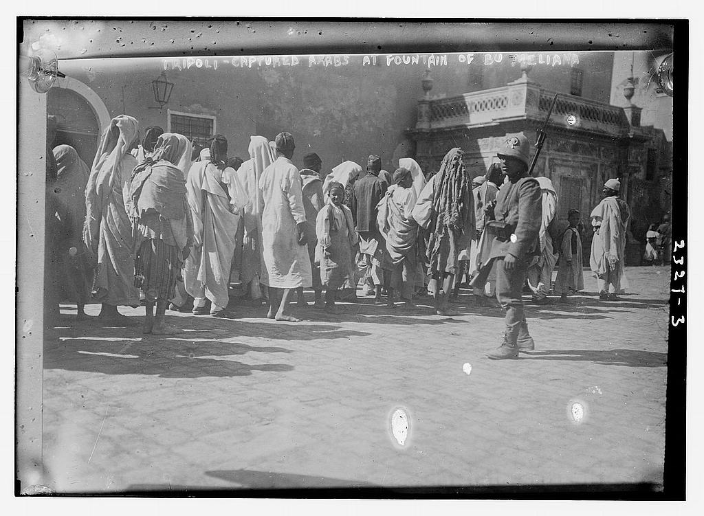Tripoli - Captured Arabs at Fountain of Bu Meliana ca. 1911 (The George Grantham Bain Collection - Library of Congress archive)