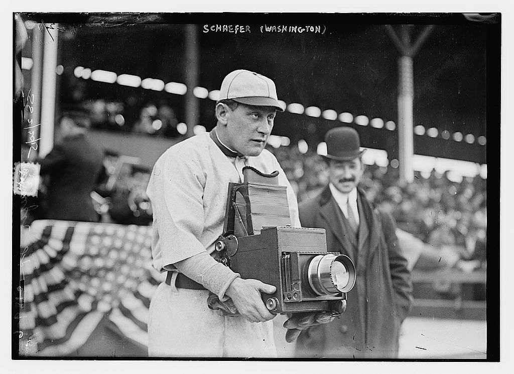 """Herman A. """"Germany"""" Schaefer (1876-1919), one of the most entertaining characters in baseball history, trying out the other side of the camera during the Washington Senators visit to play the New York Highlanders in April, 1911 (The George Grantham Bain Collection - Library of Congress archive)"""