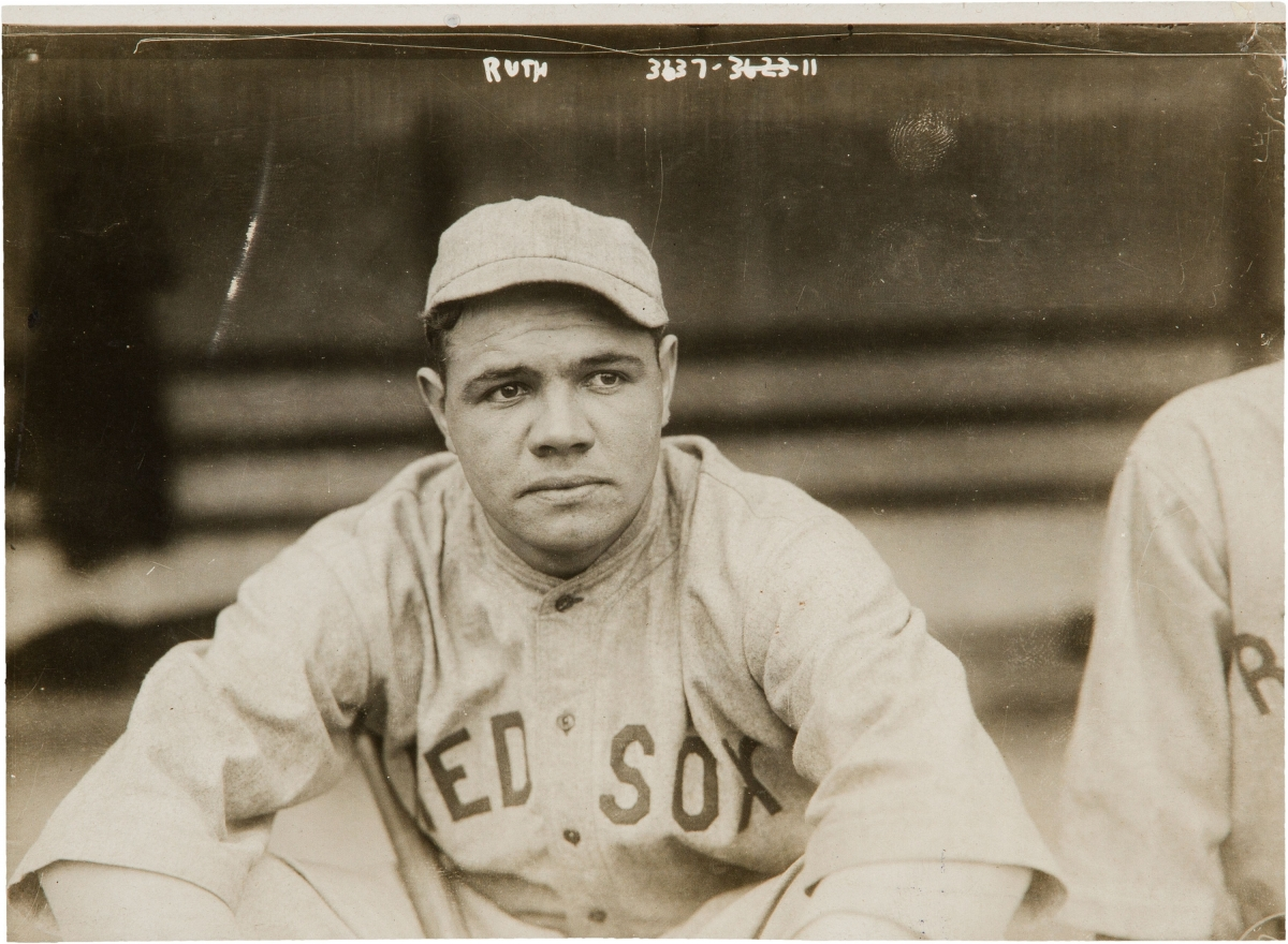 """The iconic Bain News Agency's photograph of legend of baseball George Herman Ruth (aka """"Babe Ruth"""" or the """"Bambino""""), during his final season with the Boston Red Sox, 1919 (The George Grantham Bain Collection - Library of Congress archive)"""