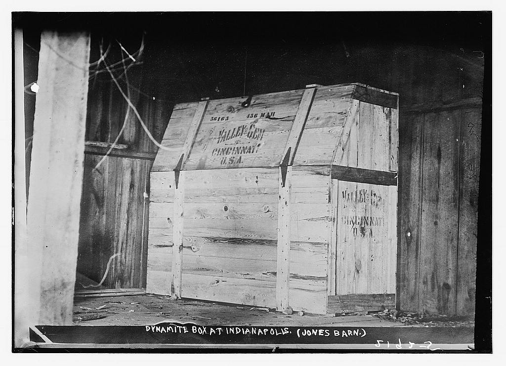 Dynamite box at Indianapolis, ca. 1910 (The George Grantham Bain Collection - Library of Congress archive)
