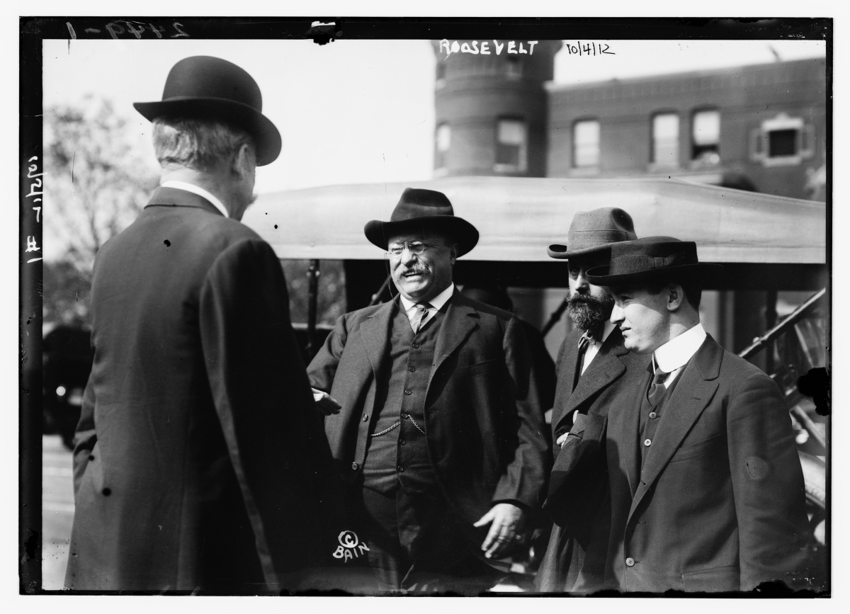 Bain News Service photographs also captured politicians and human-interest subjects. In this picture:President Theodore Roosevelt around 10 days before the October 14, 1912, assassination attempt by John F. Schrank.(The George Grantham Bain Collection - Library of Congress archive)