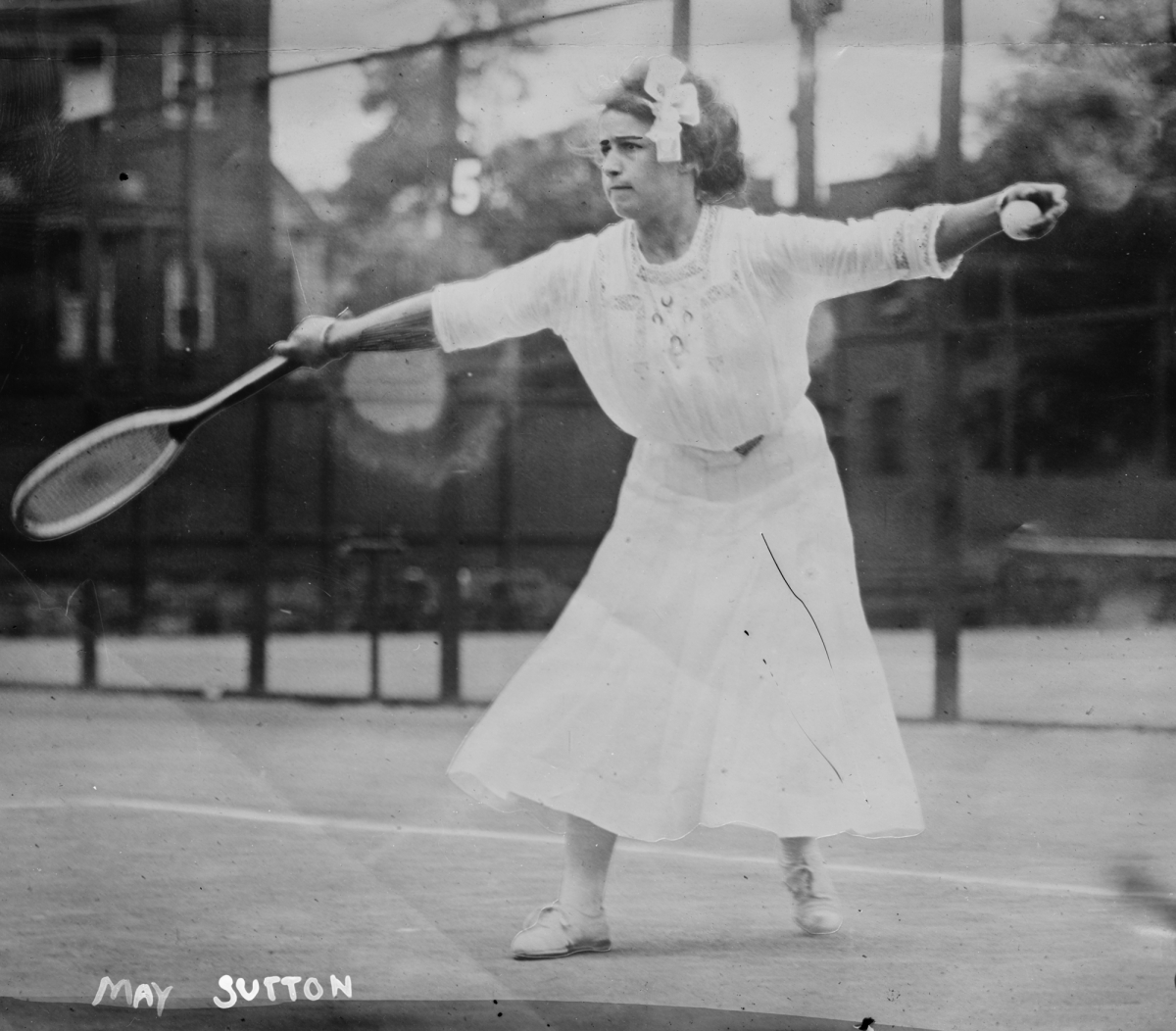 American tennis champion May Sutton, 1910s At age 17 she won the singles title at the U.S. National Championships and in 1905 she became the first American player to win the singles title at Wimbledon. (The George Grantham Bain Collection - Library of Congress archive)
