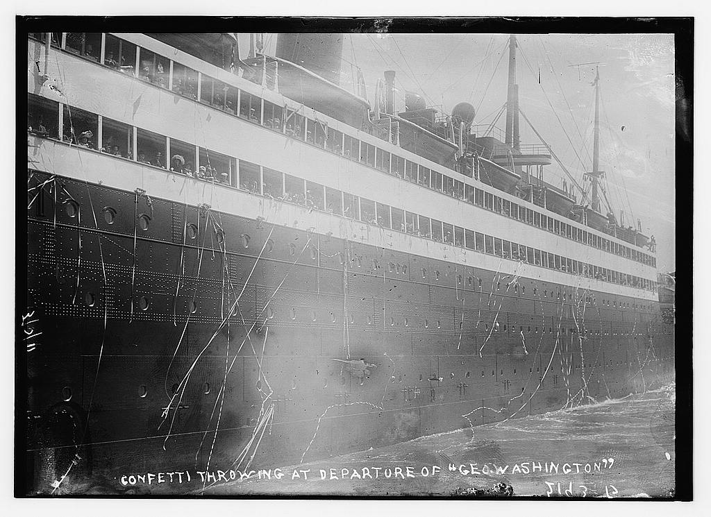 """Confetti throwing at the departure of """"SS Geroge Washington"""" oceanliner from New York City, 1911 (The George Grantham Bain Collection - Library of Congress archive)"""