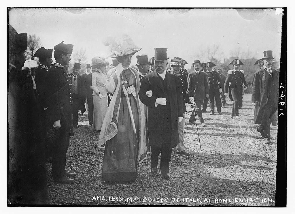 Amb. Leishman and Queen of Italy at Rome International Exhibition in 1911 (The George Grantham Bain Collection - Library of Congress archive)