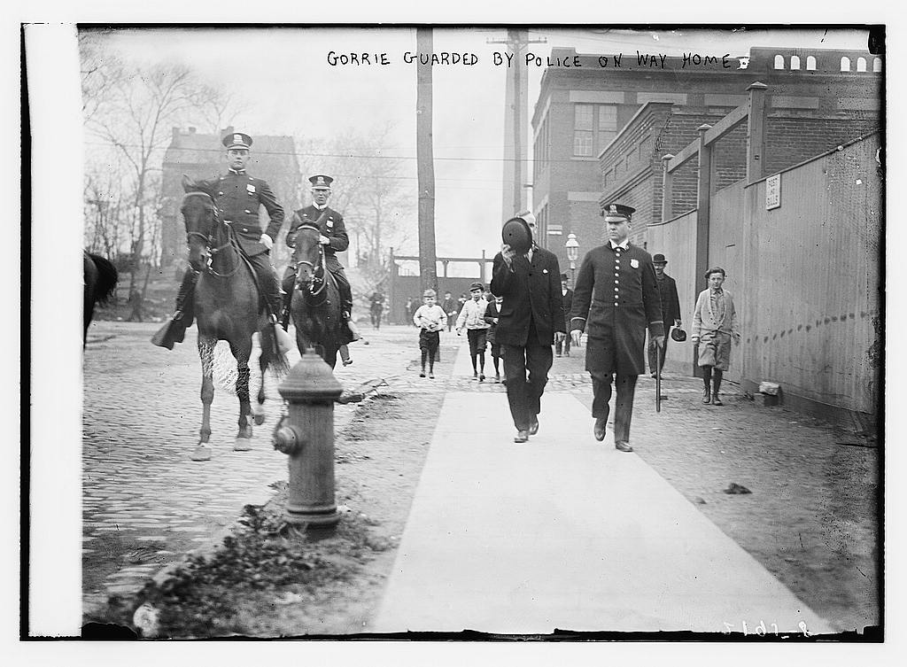 Gorrie Guarded by Police on way home, between ca. 1910 and ca. 1915 (The George Grantham Bain Collection - Library of Congress archive)