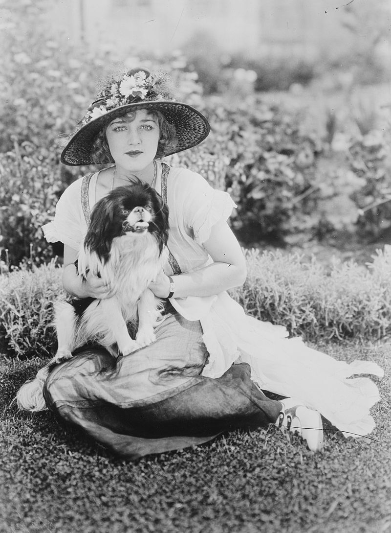 Actress Mildred Davis and her dog, 1921 (The George Grantham Bain Collection - Library of Congress archive)