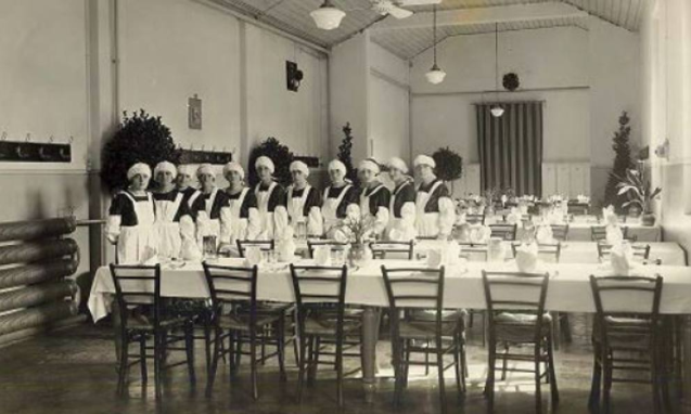Employees' company canteen at  Ercole Marelli  in Sesto S. Giovanni Milan during early 1930s. Look at these female cooks, their old style composure and decorum are impressive to me.
