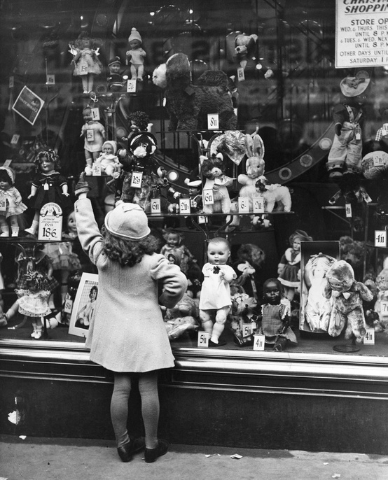 Sweet Child Looking in Department Store Window, late 1940s