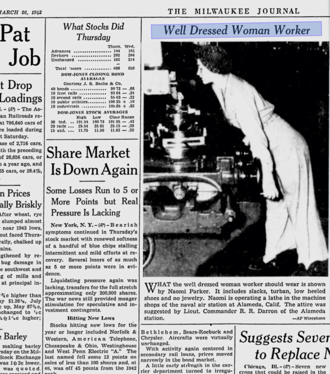 """An article appeared on March the 26th 1942 on """"The Milwaukee Journal"""" showing a picture of Naomi Parker-Fraley with the description of her working outfit while operating a lathe in the naval air station at Alameda, California."""