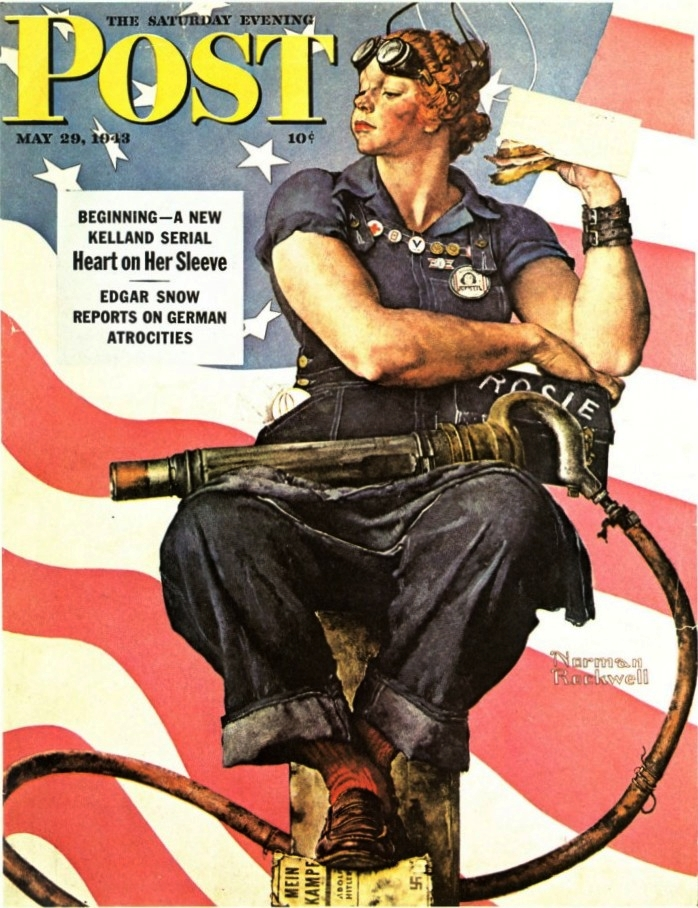 Norman Rockwell's Saturday Evening Post 1943 cover featuring Rosie the Riveter