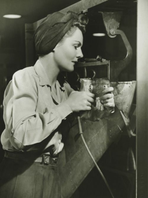 female factory worker, 1940s