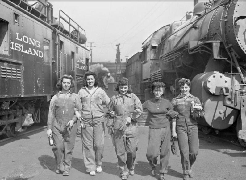 Doing their part during World War II, women work along the rails for the Long Island Rail Road, 1940s (picture by Daily News