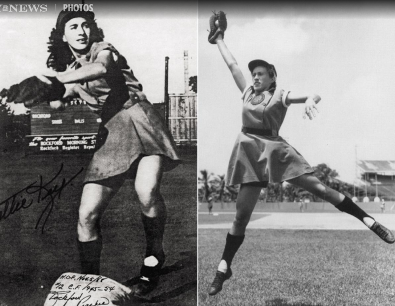 All-American Girls Professional Baseball League. Also baseball was effected by men sent to the war. The women's professional league formed in 1943 in response to minor league teams disbanding. Here, Dottie Ferguson Key (left) and Dorothy Kamenshek (right), Rockford Peaches players.(picture by Daily News)