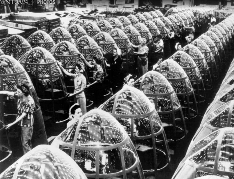 Women polishing bomber nose cones doing their part during WW2, 1940s