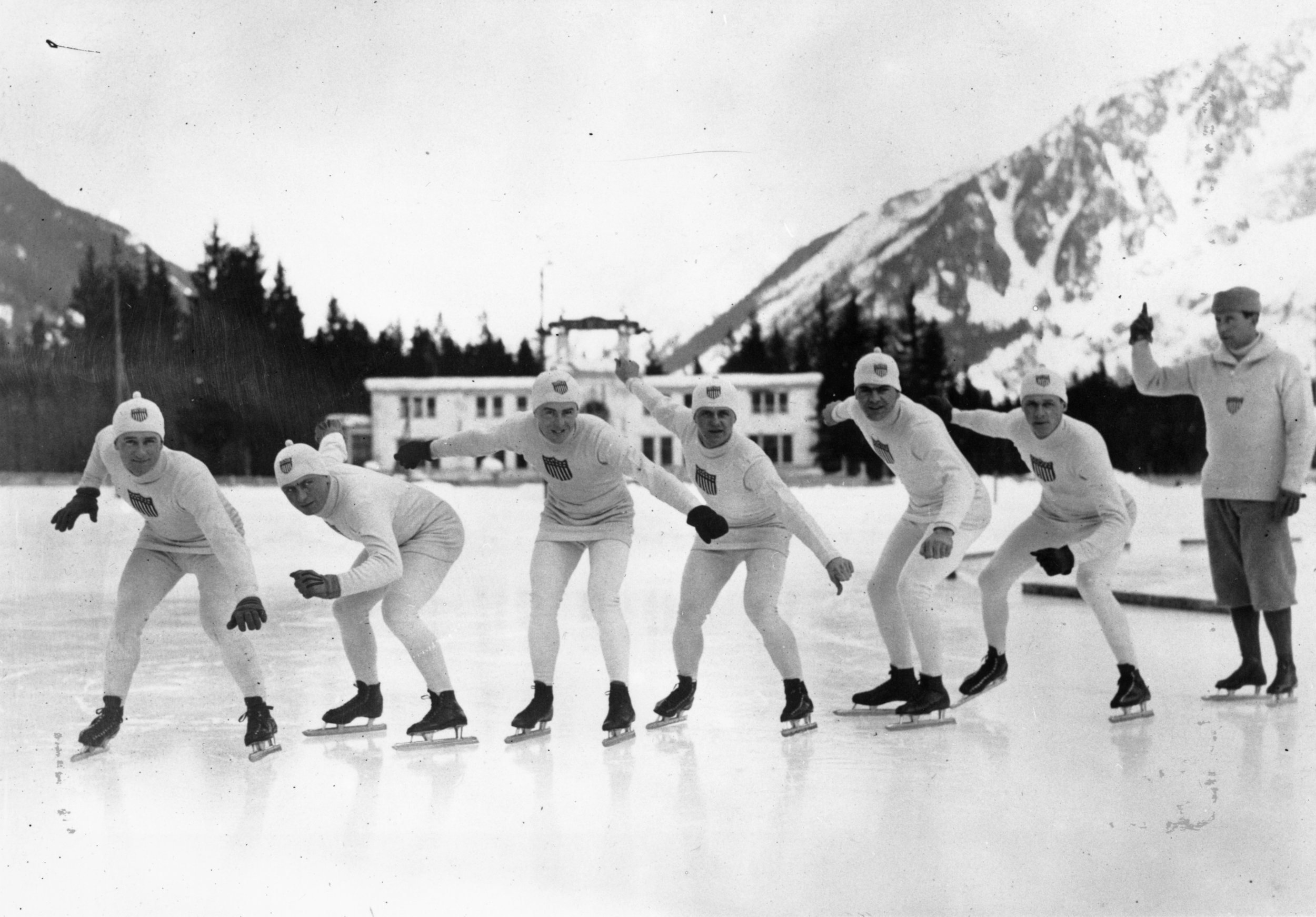 A group of American skaters practicing for the first Winter Olympics at Chamonix, 1924 ((Photo by George Rinhart/Corbis via Getty Images