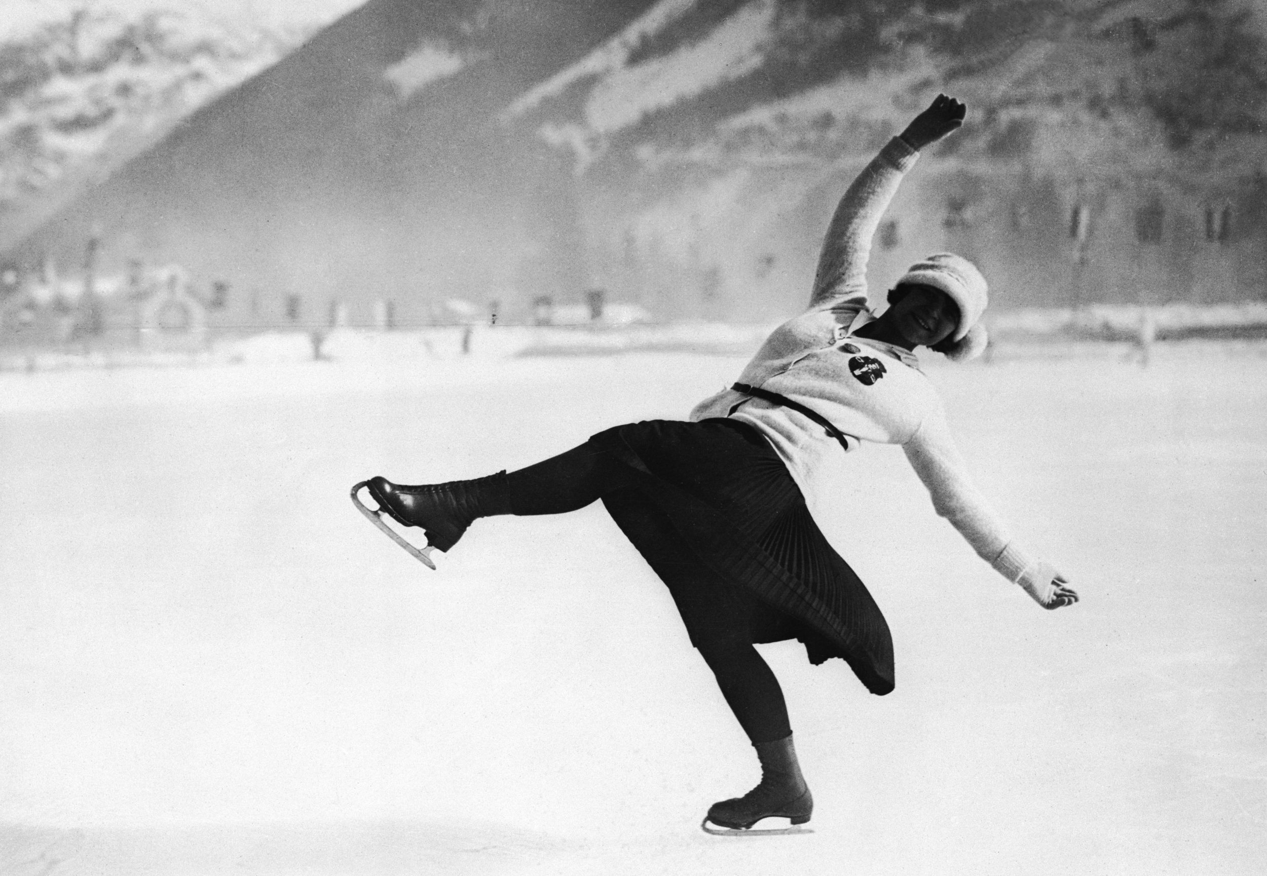 Herma Planck-Szabo of Austria on her way to winning the women's figure skating gold medal at the first Winter Olympics, 1924 (Photo by Topical Press Agency/Getty Images)