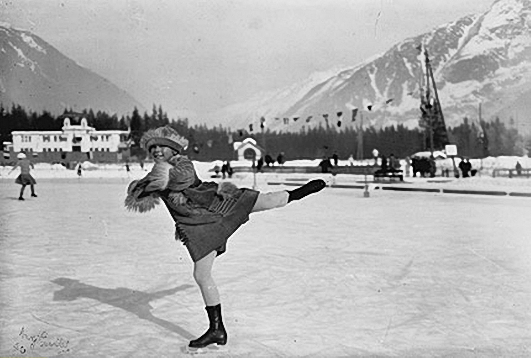 Athlete and figure skater Sonja Henie of Norway at the first Winter Olympics in Chamonix, 1924