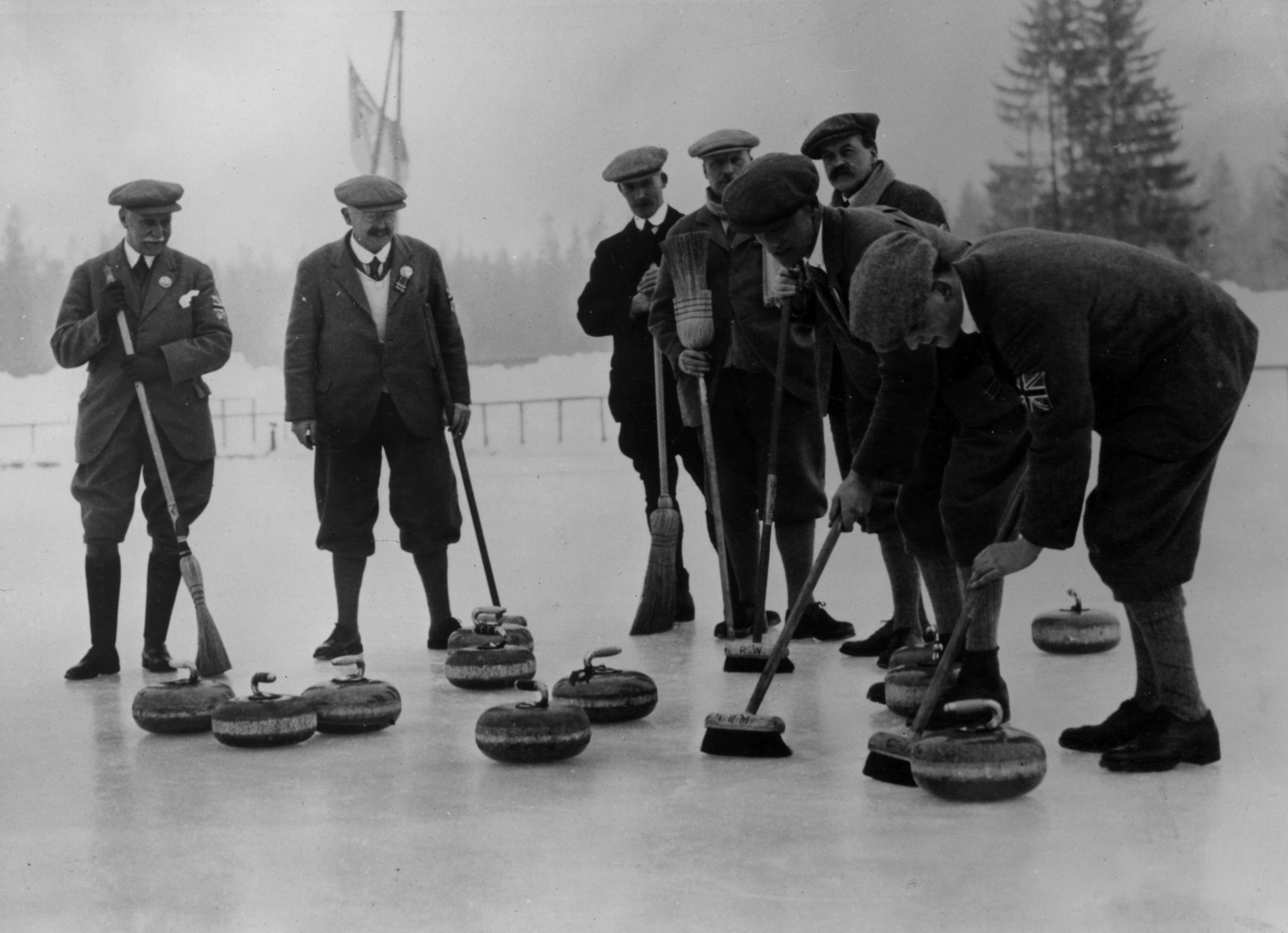 British curling team at the Olympic Games in Chamonix, France, 1924