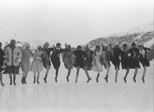 Ladies waiting for the winter Olympic Games in St. Moritz, Lake St. Moritz, 1928