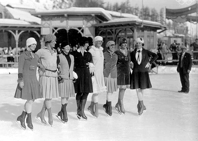 The elegange of the female Figure Skating competitors at the Winter Olympic in St. Moritz, 1928