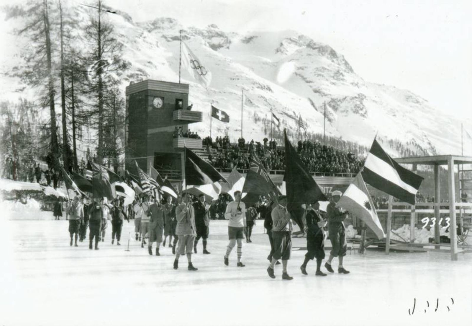 The opening ceremony at the Winter Games in St. Moritz, 1928. This mass event made the beautiful region of St. Moritz a touristic attraction.