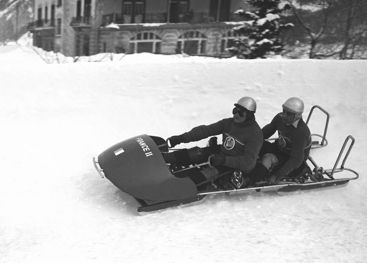 Competing in the first run of the Olympic two-man bobsled competition is the French second team, W.G. Hirigoyen and L. Saint-Calbre, during St.Moritz' winter Olympic Games in 1948