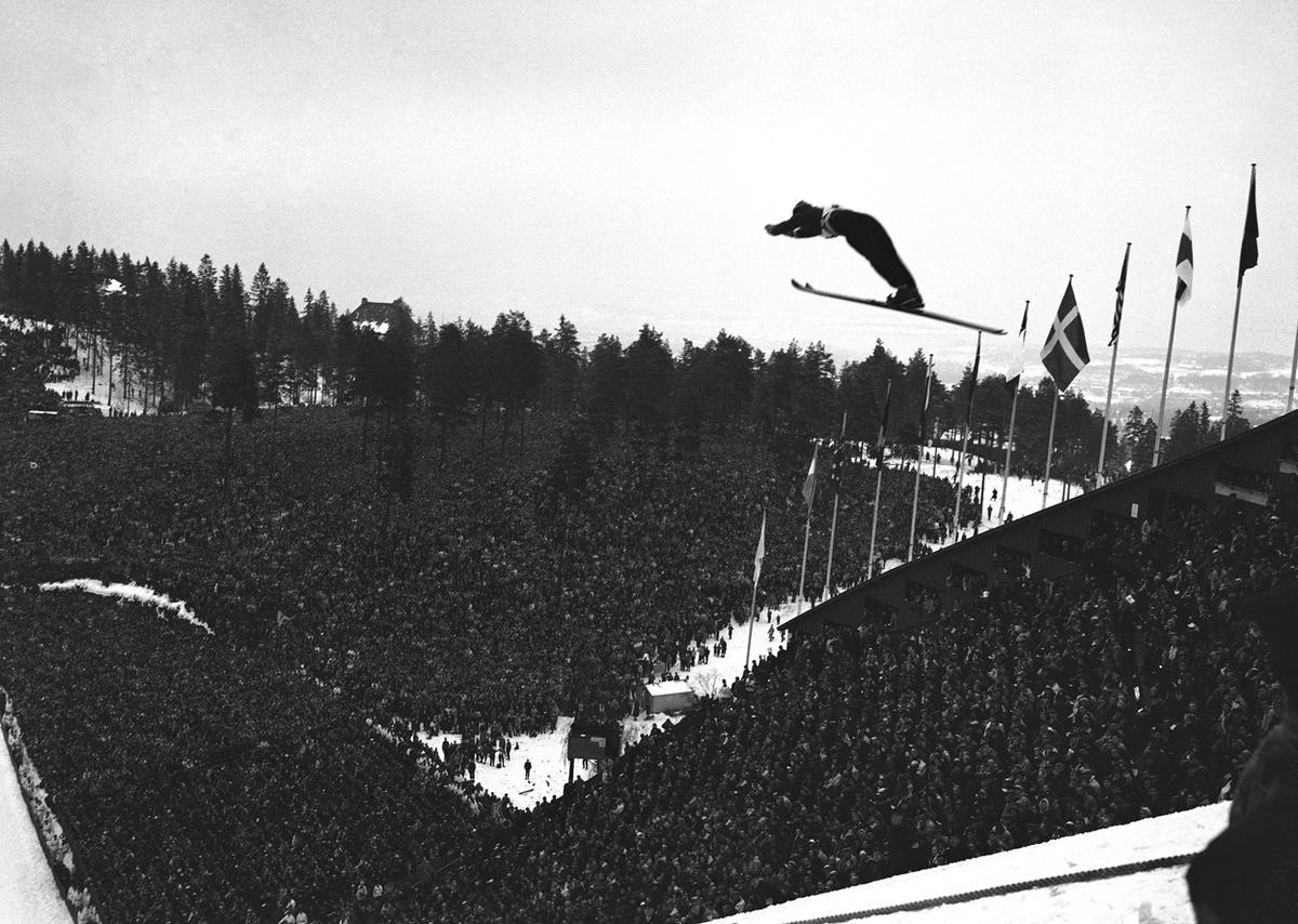 A view from the top of the Holenkollen ski jump near Oslo, Norway, during the VI Olympic Winter games, 1952