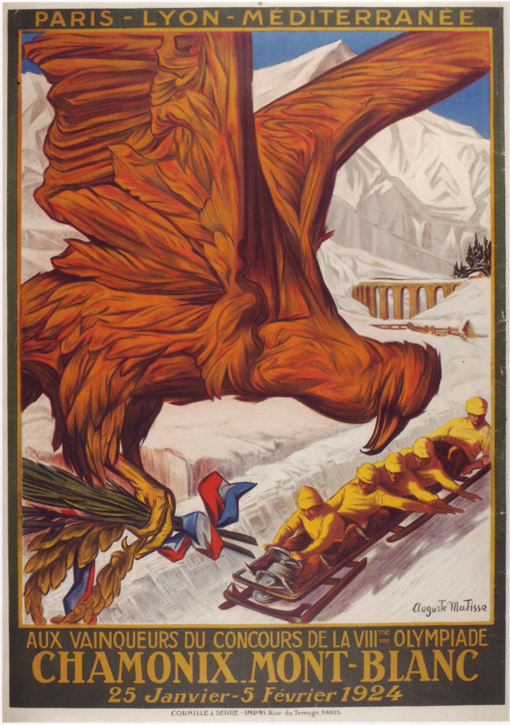 Advertising poster of the Winter Olympic Games in Chamonix (France), 1924